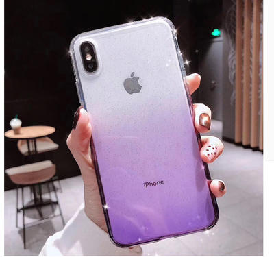 Gradient Sparkling Powder case with diamond TPU mobile phone case for iPhone xs MAX