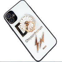 Chaopai D word text is suitable for iPhone 11pro max mobile phone case with creative diamond inlaid Daisy stand xsmax hard shell